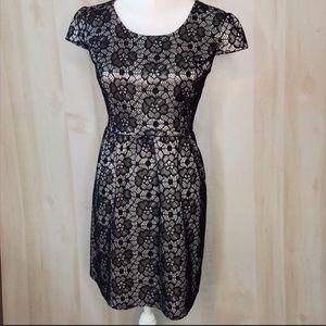 SWEET STORM Black Floral Lace Sheat Dress
